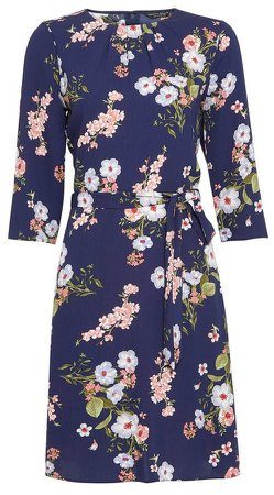 Blue Blossom Print Pleat Neck Dress
