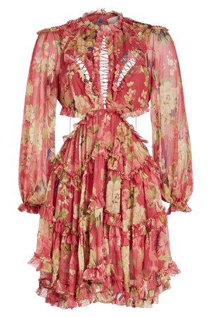 Melody Lace Up Silk Chiffon Mini Dress Gr. 1