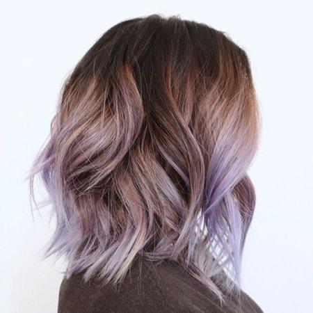 Dark Brown & Lilac Ombre Hair