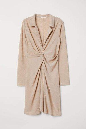 Tie-detail Dress - Beige