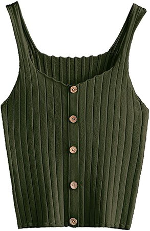SweatyRocks Women's Sleeveless Vest Button Front Crop Tank Top Ribbed Knit Belly Shirt Tie Dye-5 XXL at Amazon Women's Clothing store