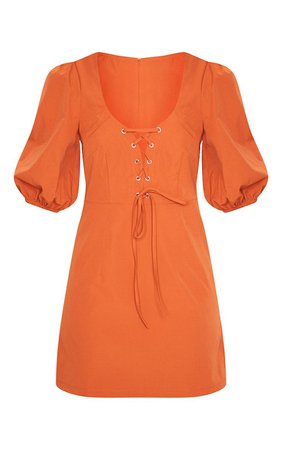 Rust Puff Sleeve Corset Detail Shift Dress | PrettyLittleThing USA
