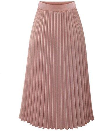 NREALY Skirt Womens Solid Pleated Elegant Midi Elastic Waist Maxi Skirt at Amazon Women's Clothing store