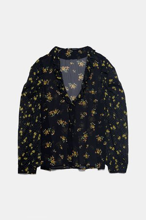 CONTRASTING FLORAL PRINT BLOUSE - NEW IN-WOMAN | ZARA United States black