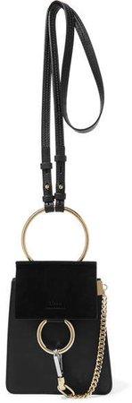 Faye Bracelet Mini Leather And Suede Shoulder Bag - Black
