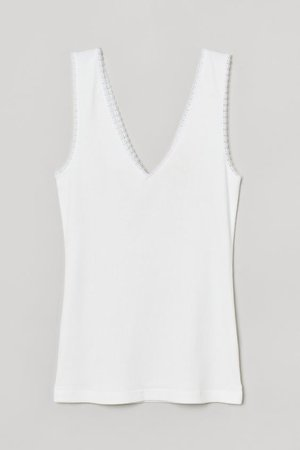 Lace-trimmed ribbed vest top - White - Ladies | H&M