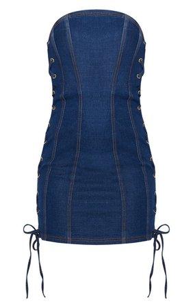 Mid Wash Denim Bandeau Lace Up Detail Dress | PrettyLittleThing