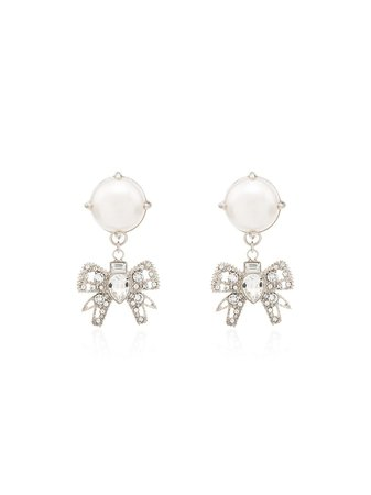Miu Miu crystal-bow pearl drop earrings $273 - Buy Online - Mobile Friendly, Fast Delivery, Price