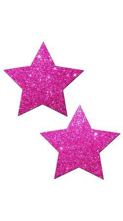 Hot Pink Glittering Star Pasties, Pink Star Nipple Pasties, Glitter Hot Pink Pasties
