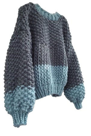 knitted two tone jumper