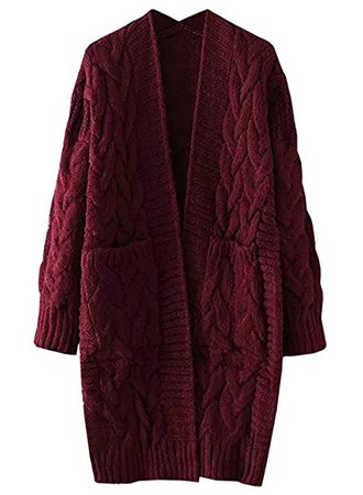 FUTURINO Women's Cable Twist School Wear Boyfriend Pocket Open Front Cardigan Popcorn Sweaters at Amazon Women's Clothing store