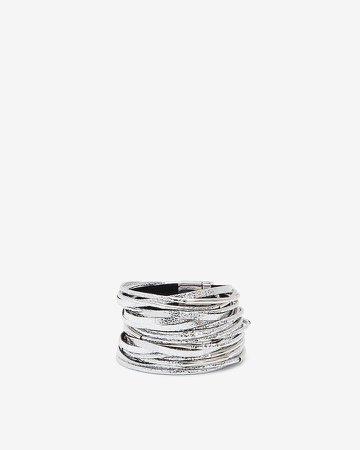 Metallic & Faux Leather Turnlock Bracelet