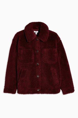 Burgundy Borg Jacket | Topshop