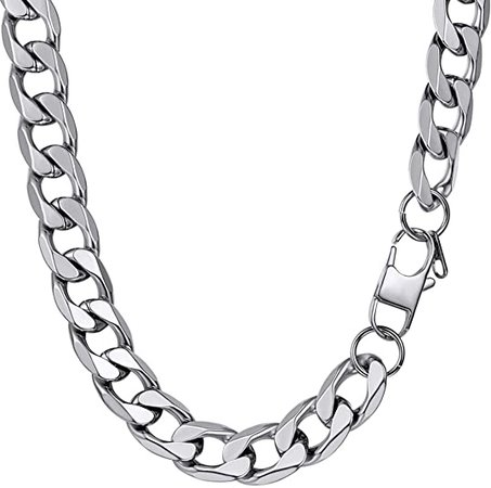 PROSTEEL Thick Choker Silver Chain Necklace for Men Him Womens Chunky Necklaces Stainless Mens Short Necklace | Amazon.com