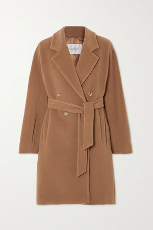 Camel Belted double-breasted camel hair and wool-blend coat   Max Mara   NET-A-PORTER