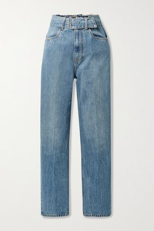Belted Distressed High-rise Straight-leg Jeans - Light denim