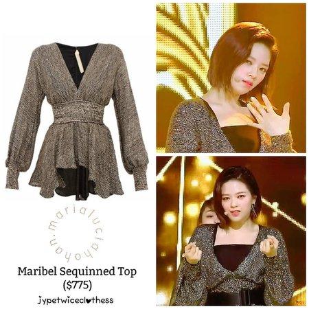 "Twice's Fashion on Instagram: ""JEONGYEON SBS INKIGAYO MARIA LUCIA HOHAN- Maribel Sequinned Top ($775) #twicefashion #twicestyle #twice #nayeon #jeongyeon #jihyo #momo…"""