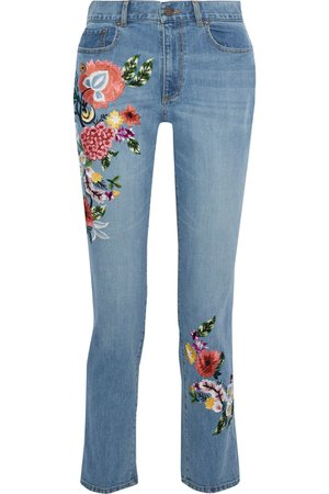 Alice and Olivia Embroidered high-rise slim-leg jeans