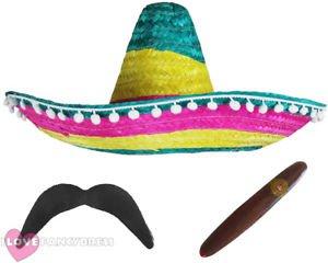 MULTI COLOURED MEXICAN SOMBRERO HAT ADD MOUSTACHE CIGAR FANCY DRESS COSTUME | eBay