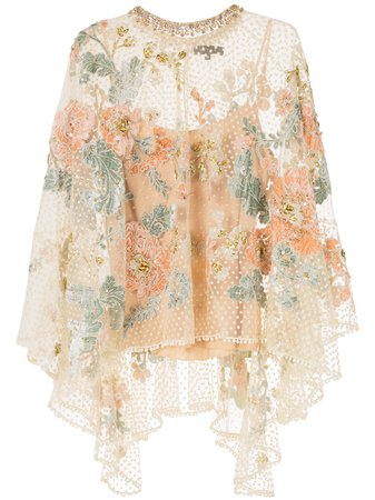 Biyan floral-embroidered Tulle Poncho - Farfetch