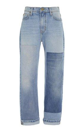 Arts Patchwork-Effect Mid-Rise Straight-Leg Jeans by B SIDES   Moda Operandi