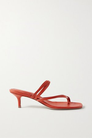 Leather Sandals - Tomato red