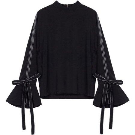 Tie Sleeve Zip Back Sweater Indigo
