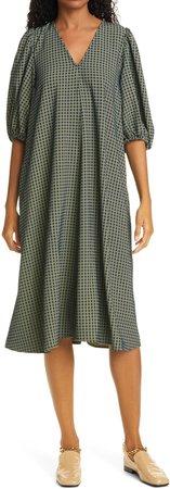 Mavelin Grid Print Puff Sleeve Midi Dress