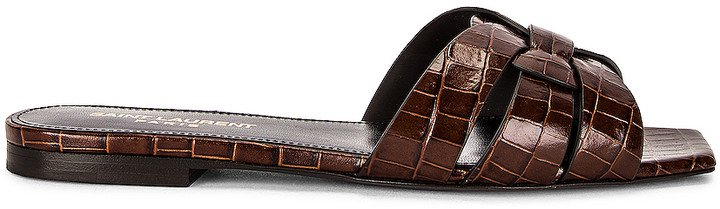 Tribute Croc Nu Peids Sandals in Dark Chocolate | FWRD