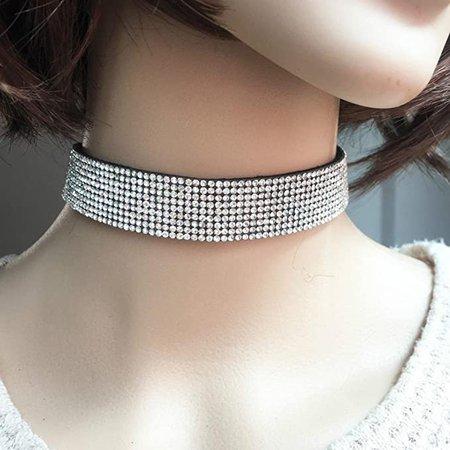 Amazon.com: Hemlock Women Diamond Choker Necklace Velvet Jewelry Party Necklace (White): Kitchen & Dining