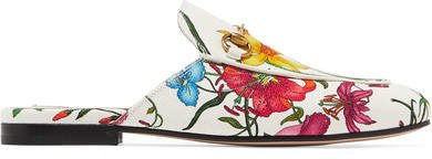 Princetown Horsebit-detailed Floral-print Canvas Slippers - White
