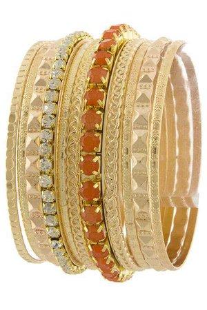 orange gold bangles brackets