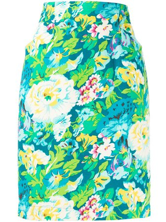 Kenzo Pre-Owned 1980s Floral Print Skirt - Farfetch