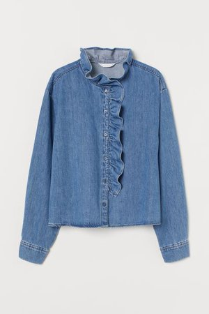 Ruffle-trimmed Denim Blouse - Denim blue - Ladies | H&M US