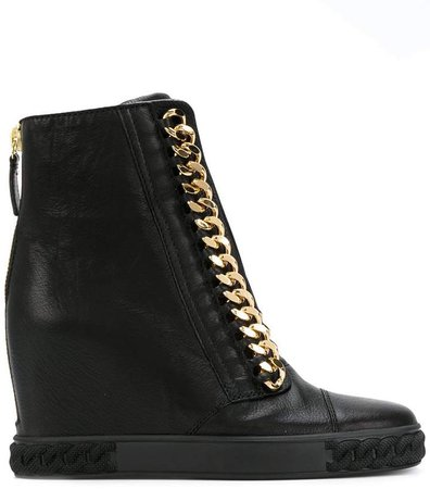 chain-trimmed wedge sneakers