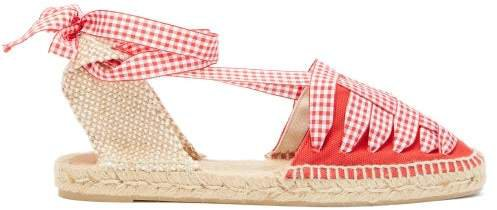 Jean Gingham Lace Canvas Espadrilles - Womens - Red