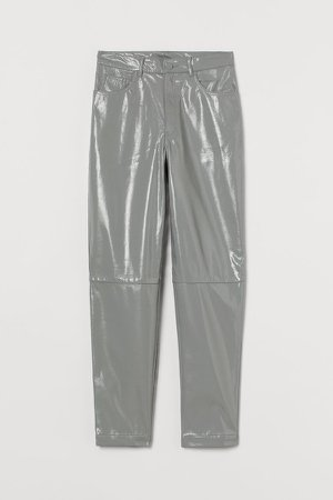 Faux Leather Pants - Gray