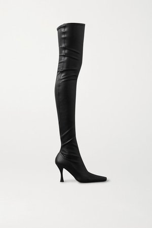 Stretch-leather Over-the-knee Boots - Black