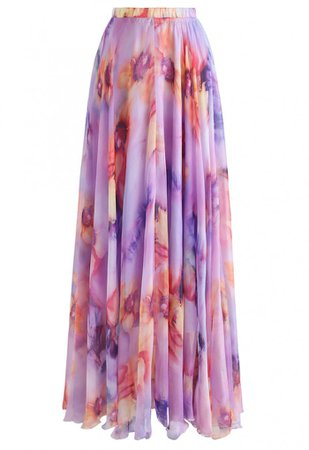 Blooming Flowers Watercolor Maxi Skirt in Lilac - Skirt - BOTTOMS - Retro, Indie and Unique Fashion
