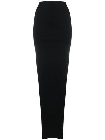 Rick Owens Side-Slit Pull-On Skirt RO20S1689KST Black | Farfetch