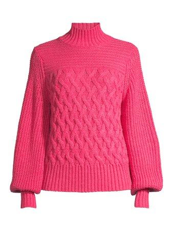 Scoop - Scoop Women's Cable Knit Turtleneck Sweater - Walmart.com - Walmart.com