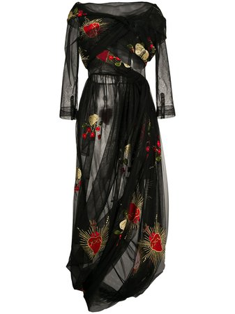 Shop black Simone Rocha embroidered tulle overlay dress with Express Delivery - Farfetch