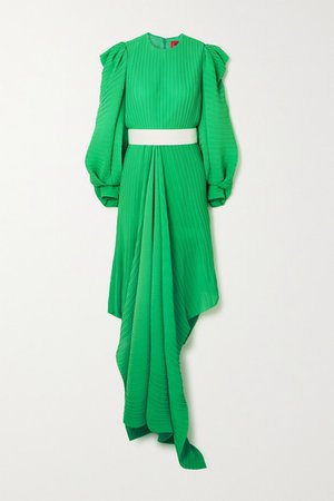 Tilde Belted Asymmetric Plisse-chiffon Dress - Green