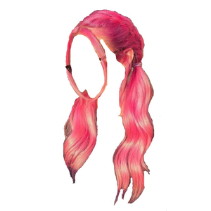 pink hair png pigtails