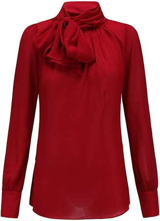 Y&Z Bow Collar Chiffon Long Sleeve Shirts Blouse for Womens at Amazon Women's Clothing store