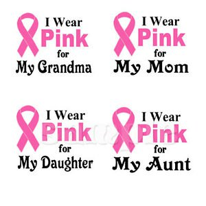 BREAST CANCER AWARENESS I WEAR PINK IRON ON TRANSFER | eBay