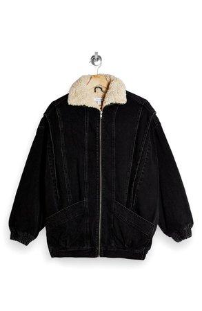 Topshop Oversize Fleece Lined Denim Bomber Jacket | Nordstrom