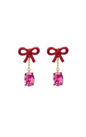 Bow And Crystal Enamel Earrings By Oscar De La Renta | Moda Operandi
