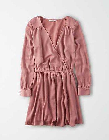 AE Silky Long Sleeve Wrap Dress pink