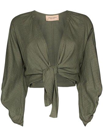 Green Adriana Degreas Wrap Tie Cropped Top For Women | Farfetch.com